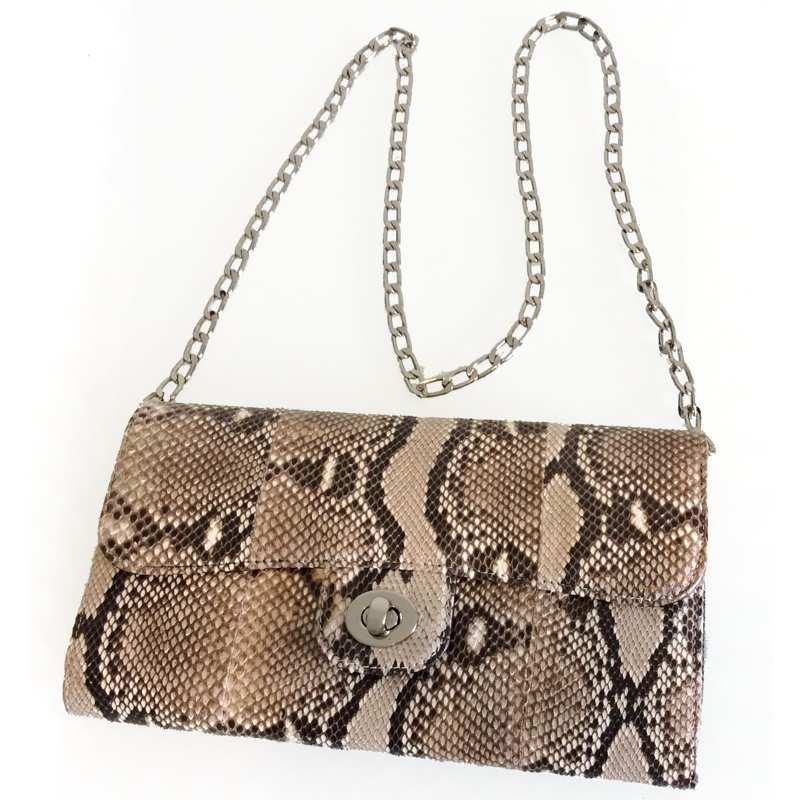 Sanda Python Snake Leather Ladies Clutch Bag