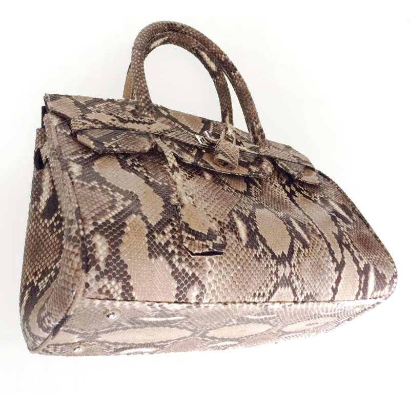 Margaret Snake Python Leather Bag - natur