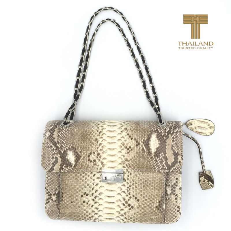 Janine Python Snake Leather Ladies Bag - natur
