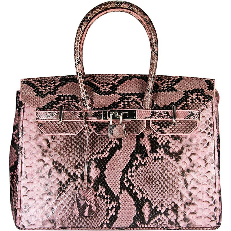 Marianne Snake Python Leather Bag - pink
