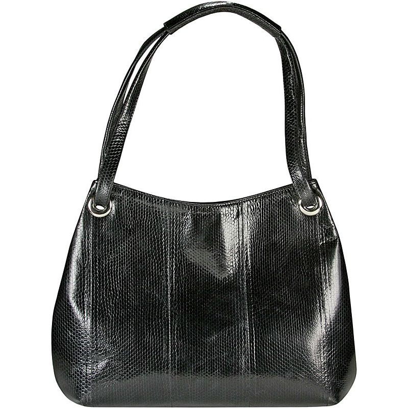 Clara Sea Snake Leather Hobo Bag - black
