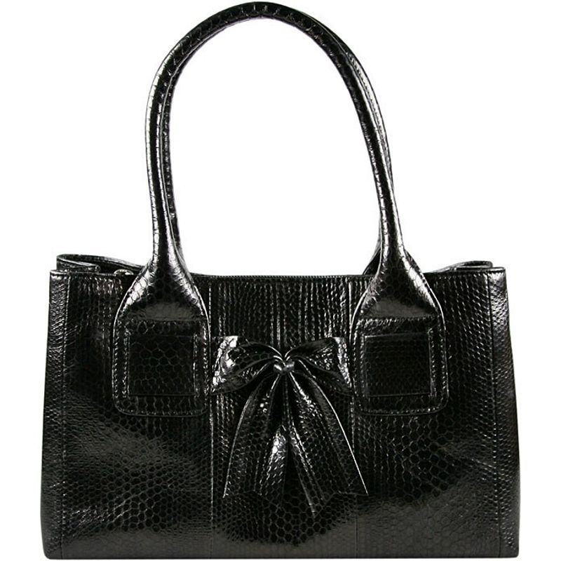 Christina Sea Snake Leather Ladies Bag - black