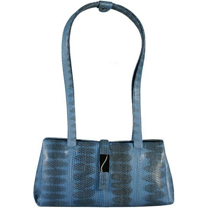 Lisa Sea Snake Leather Ladies Bag - blue