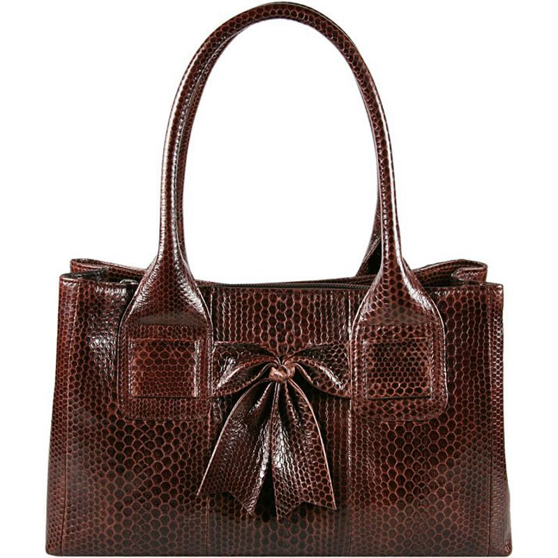 Christina Sea Snake Leather Ladies Bag - dark brown