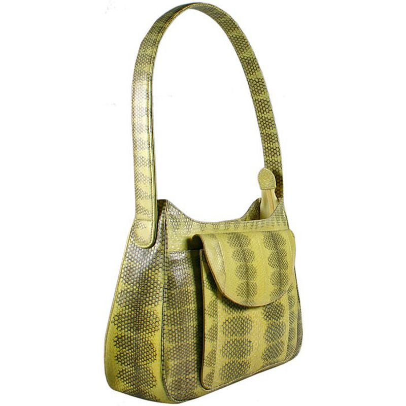 Andie Sea Snake Leather Ladies Shoulder Bag - yellow