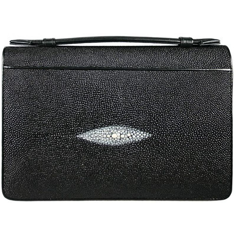 Manolo Genuine Stingray Leather Mens Handbag - black