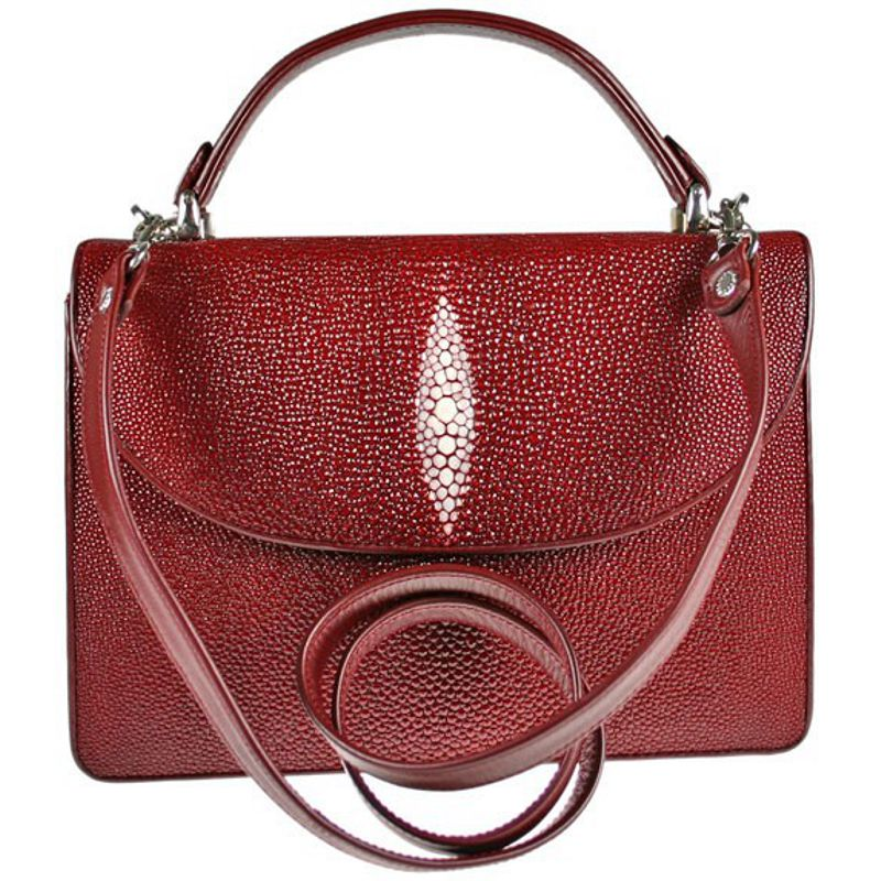 Diana Genuine Stingray Leather Bag - burgundy