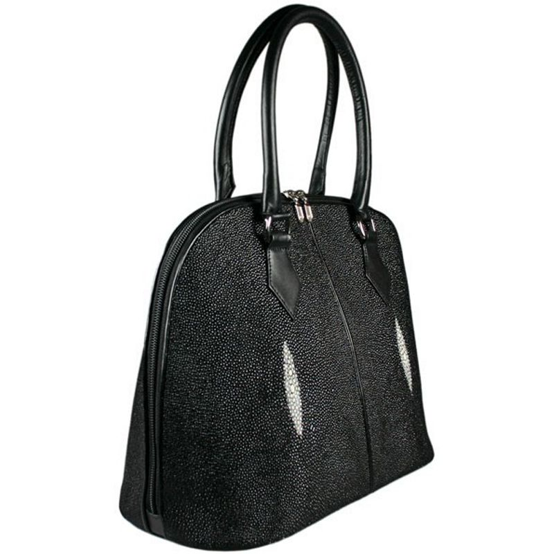 Angela Genuine Stingray Leather Shoulder Bag - black