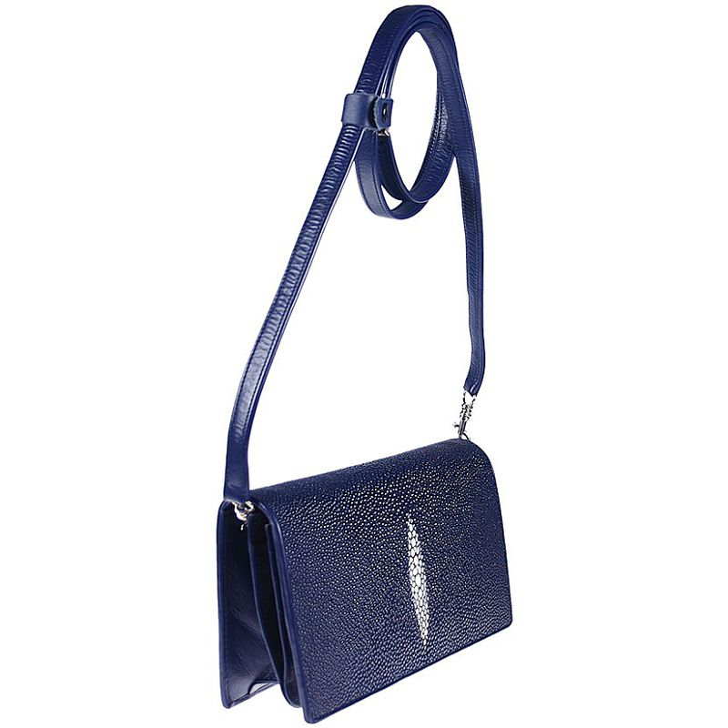 Cristina Genuine Stingray Leather Clutch Bag - blue
