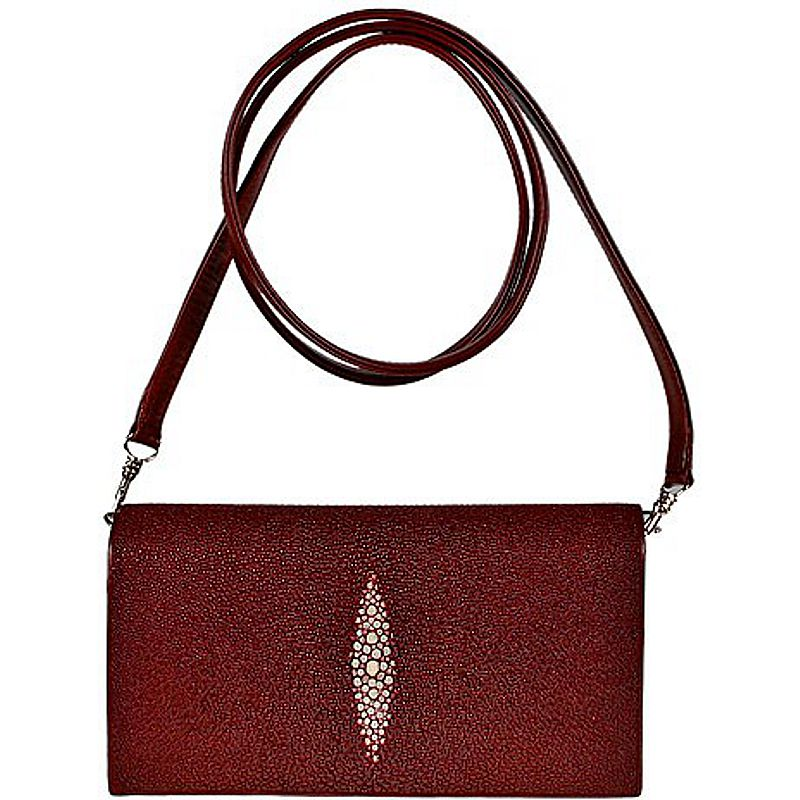 Cristina Genuine Stingray Leather Clutch Bag - burgundy