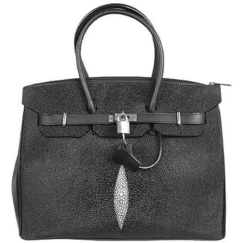 Sophia Genuine Stingray Leather Bag - black