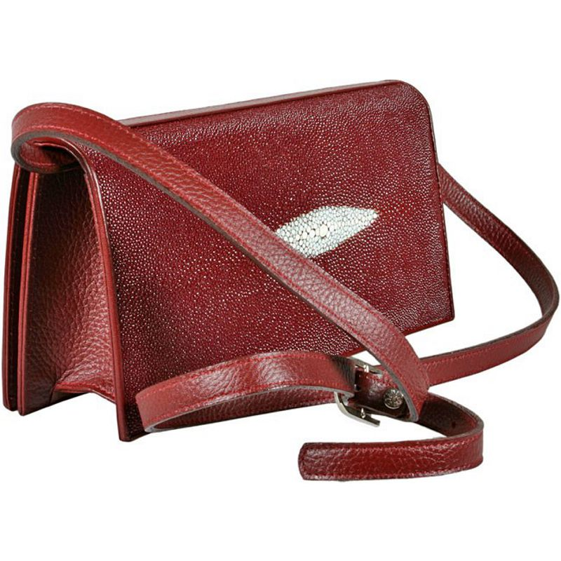 Priscilla Genuine Stingray Leather Clutch Bag - burgundy