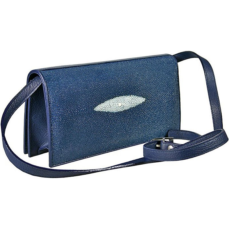 Priscilla Genuine Stingray Leather Clutch Bag - blue