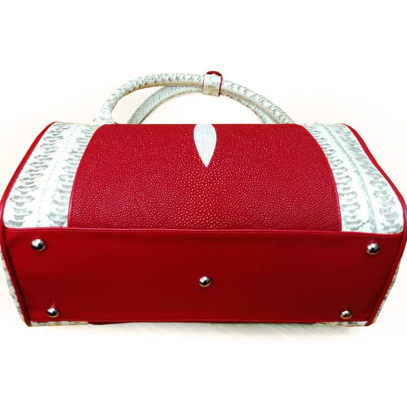 Cynthia Sea Snake/Stingray Leather Ladies Handbag - red/white