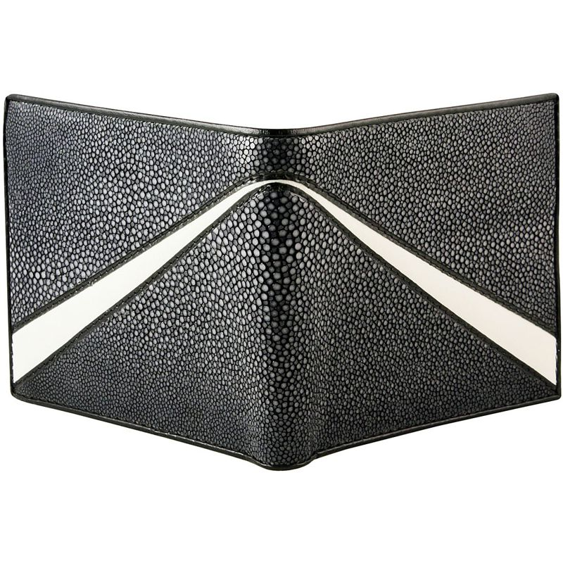Genuine Stingray Leather Bifold Wallet - black