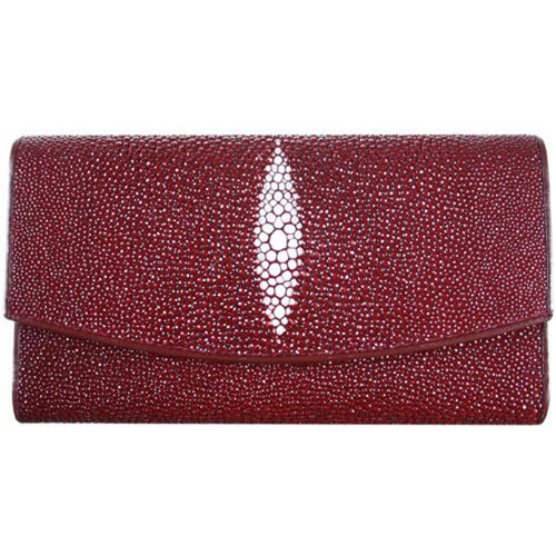 Genuine Stingray Leather Ladies Wallet - burgundy
