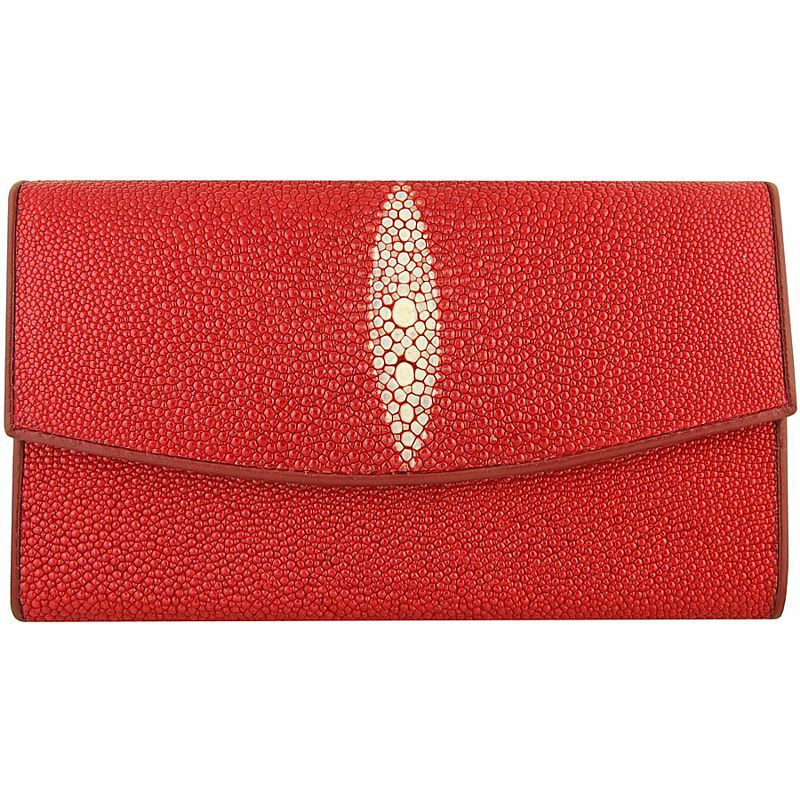Genuine Stingray Leather Ladies Wallet - red
